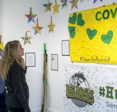 Upon arrival, she visited the Humboldt Broncos Memorial Exhibit, where she saw all the support the community received following the tragic crash on April 6, 2018.