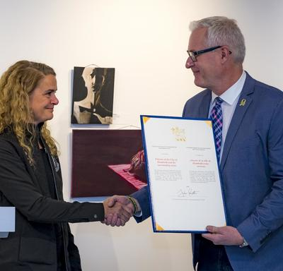 During her visit, she presented the first commendation to first responders, citizens and volunteers who came to the aid of the Humboldt Broncos hockey team in the aftermath of the devastating bus crash on April 6, 2018, which claimed the lives of 16 peopl