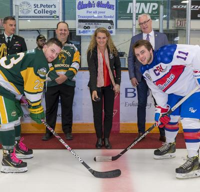 The Governor General then conducted the official puck drop at the Humboldt Broncos home game.