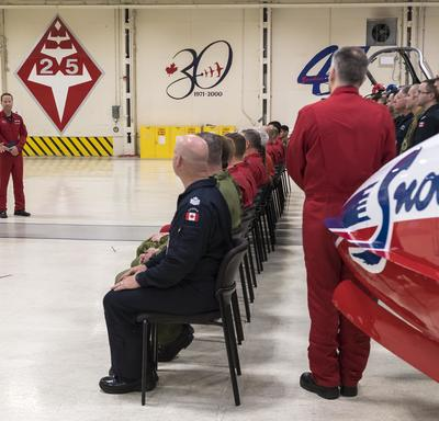 She addressed pilots and instructors in the hangar and thanked them for having had the privilege of training with them before becoming an astronaut.