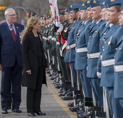 "She received military honours, including a guard of honour, the ""Viceregal Salute"" and a 21-gun salute from members of the 3 Canadian Division, Joint Task Force West and the 10th Field Artillery, 38 Canadian Brigade Group."