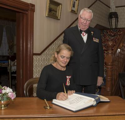 After the presentation, she signed the Lieutenant Governor's guest book.