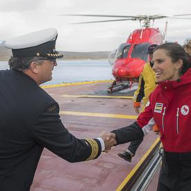 Upon landing on the CCGS Amundsen, the Honourable Kirsty Duncan, Minister of Science was greeted by Claude Lafrance, Captain of the CCGS Amundsen.