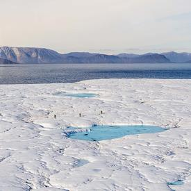The team on board the CCGS Amundsen stopped at an ice island.