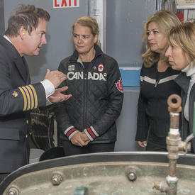 Later, Her Excellency and Dr. Mona Nemer toured the mechanical room of the CCGS Amundsen where they receive explanations on how water is made potable on board the ship.