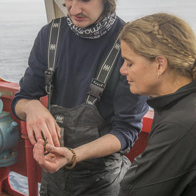 A student showed Her Excellency fish larvae that had been collected earlier that day.