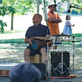 Ladom Ensemble's percussionist performs on the grounds of Rideau Hall for Chamberfest.