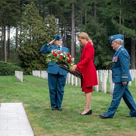 The Governor General prepares to lay a wreath at the Bergen-op-Zoom Canadian War Cemetery.