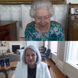 A split screen capture of Governor General Designate Mary May Simon and Her Majesty The Queen's virtual meeting.