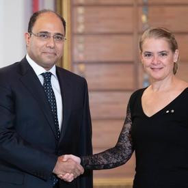 La gouverneure générale serre la main de Son Excellence monsieur Ahmed Mahmoud Mahmoud Abdelhalim Abu Zeid, Ambassadeur de la République arabe d'Égypte.