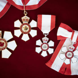 Four medals representing the three levels of the Order of Canada are displayed a red velvet background