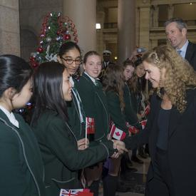 Her Excellency talks to students.