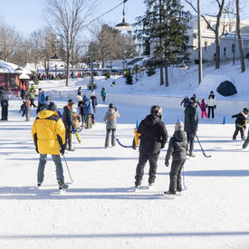 Une photo de la patinoire de Rideau Hall.  Au premier plan, les gens jouent au hockey, à l'arrière, les gens font du patinage libre.