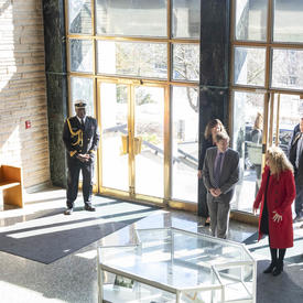 The Governor General and the Mayor of New Westminster enter City Hall.