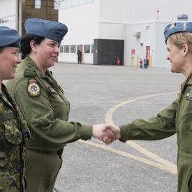 The Governor General shakes hands with CAF members.
