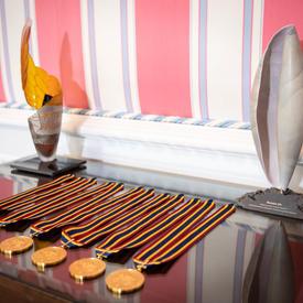 Les médailles sont disposées sur une table.