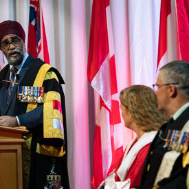 The Honourable Harjit S. Sajjan, Minister of National Defence, delivers remarks at the convocation ceremony.