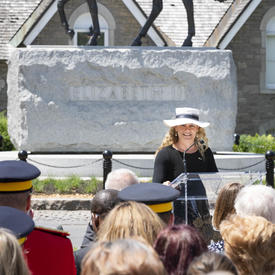The Governor General delivered remarks in front of the Queen Elizabeth II Equestrian Monument.