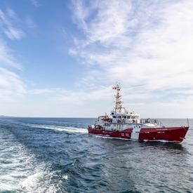 A photo of the CCGS Baie de Plaisance, a Canadian Coast Guard ship, at sea.