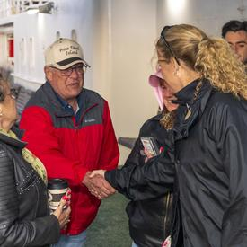 The Governor General met with passengers during the ferry crossing from Prince Edward Island to the Îles-de-la-Madeleine.