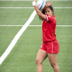 Canada's female rugby team played against Peru.