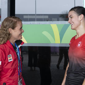 The Governor General met with squash player Samantha Cornett after the game.
