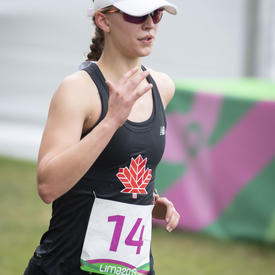 Claire Samulak performed in the running portion of the modern pentathlon.