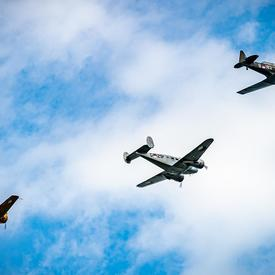 A photo of Second World War aircraft during the flypast at the ceremony in Terneuzen.