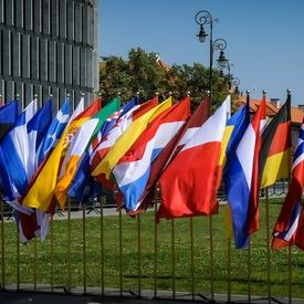 A picture of country flags in a line for the ceremony commemorating the 80th Anniversary since the Outbreak of the Second World War.