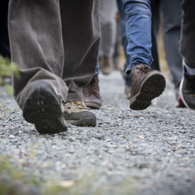 Feet of people walking.