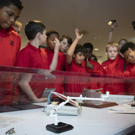 Students visit and view the Dare to Dream space exhibit at Rideau Hall.
