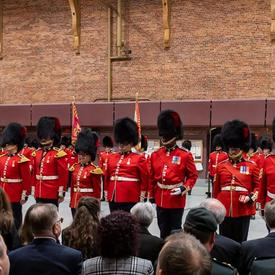 Members of the Governor General's Foot Guards are rewarded with Canadian Forces' Decorations.