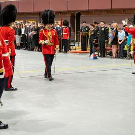 Lieutenant-Colonel Commanding Lynam marches with the Governor General's Foot Guards for the last time.