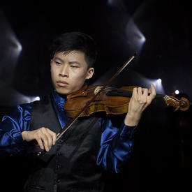 Canadian violinist, Kerson Leong, played at a reception.