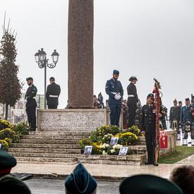 Members of the Canadian Forces stand sentry at the four corners of the Pontecorvo Monument.