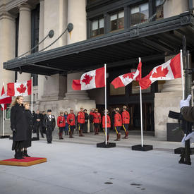 Upon arrival at the Senate of Canada Building, she received the Royal salute.