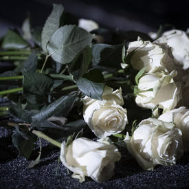 White roses laid on a table during the Polytechnique commemorative ceremony.