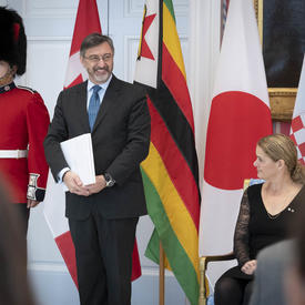 The Ambassador-designate of the Republic of Croatia hands letters of credence to the Governor General.
