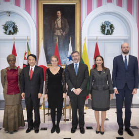 New heads of mission at a Presentation of Letters of Credence ceremony at Rideau Hall.