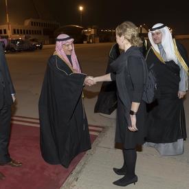 La gouverneure générale serre la main de Son Excellence monsieur Mohammad Abulhasan, conseiller à Amiri Diwan.