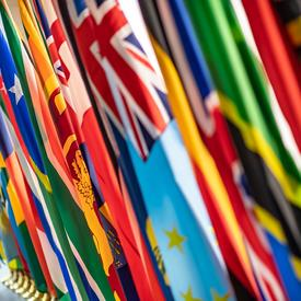 Flags of the different countries represented at the conference.