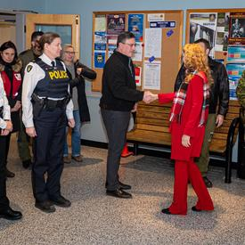 The Governor General meets with staff at CFB Trenton.