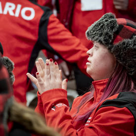 An athlete claps at the Special Olympics Canada Winter Games Thunder Bay 2020 Opening Ceremony.