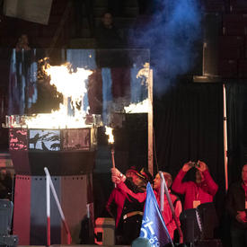 Athletes light the torch during the Special Olympics Canada Winter Games Thunder Bay 2020 Opening Ceremony.