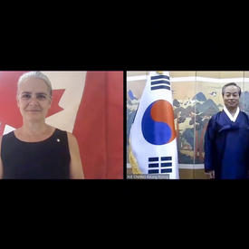 A computer screen split in two shows a woman, on the left, standing and smiling in front of a Canadian flag. On the right, a man is standing next to the flag of Korea.