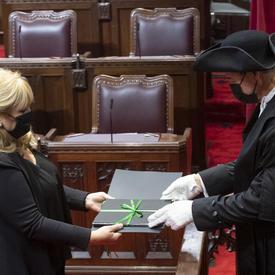 Un homme et une femme sont tous deux habillés en noir et portent des masques. Ils se font face et tiennent tous deux un porte-document avec un nœud vert. L'homme porte des gants blancs et un chapeau noir.