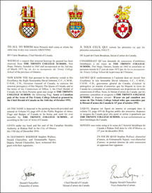 Letters Patent granting a Flag to The Trinity College School