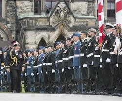 Inspection of a 100-person guard of honour.
