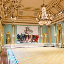 View of artwork on the far wall of the Ballroom at Rideau Hall.