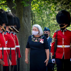 Newly appointed governor general Mary May Simon does an inspection of the Guards.